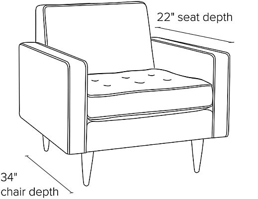 Side view dimension illustration of Reese chair