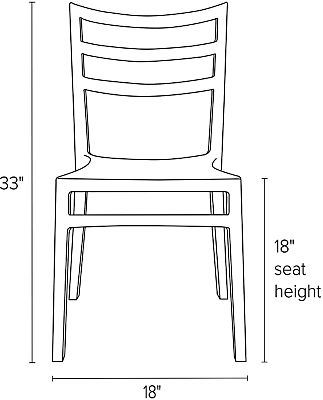 Front view dimension illustration of Sabrina side chair
