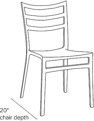 Side view dimension illustration of Sabrina side chair