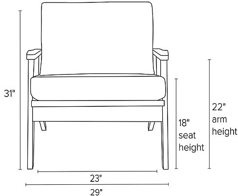 Front view dimension illustration of Sanna chair