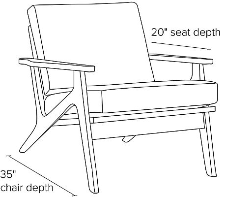 Side view dimension illustration of Sanna chair