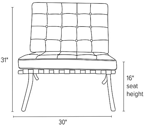 Front view dimension illustration of Seville chair