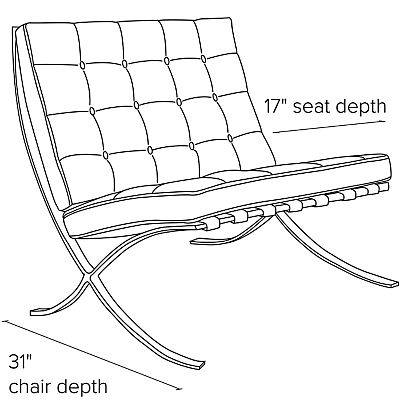 Side view dimension illustration of Seville chair