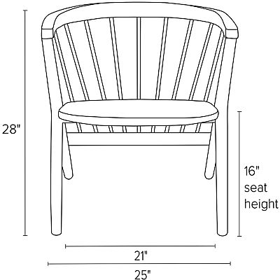 Front view dimension illustration of Soren chair