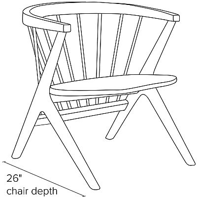 Side view dimension illustration of Soren chair