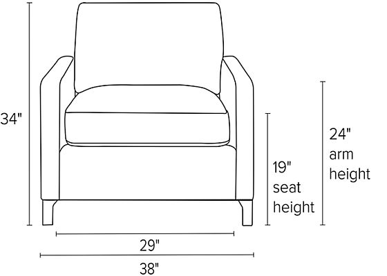 Front view dimension illustration of Stevens chair