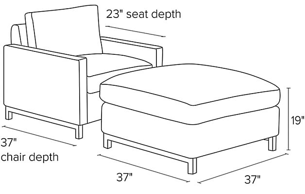 Side view dimension illustration of Stevens chair and ottoman