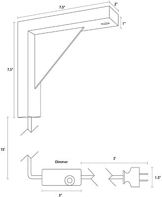 Detail of Tandem wall mount dimension drawing