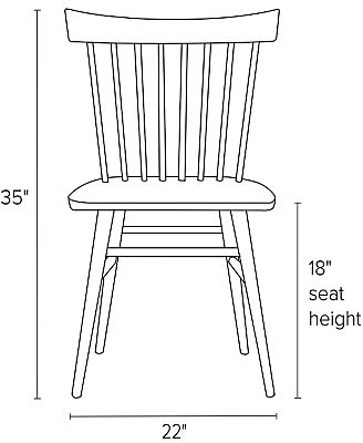 Front view dimension illustration of Thatcher side chair