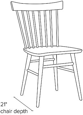 Side view dimension illustration of Thatcher side chair