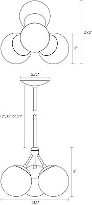Dimension illustration of Triton chandelier