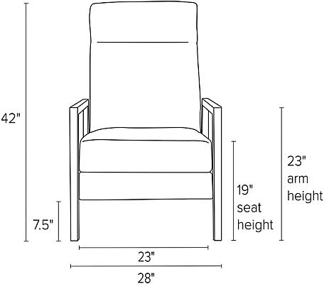 Front view dimension illustration of Westport recliner