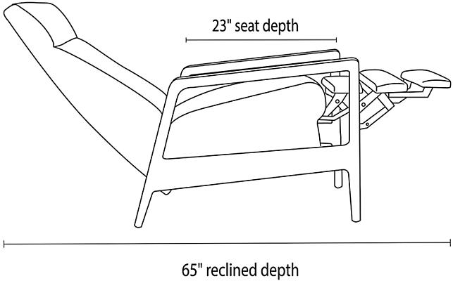 Side view dimension illustration of Westport recliner