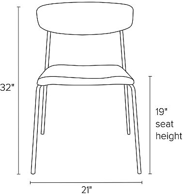 Front view dimension illustration of Wolfgang side chair