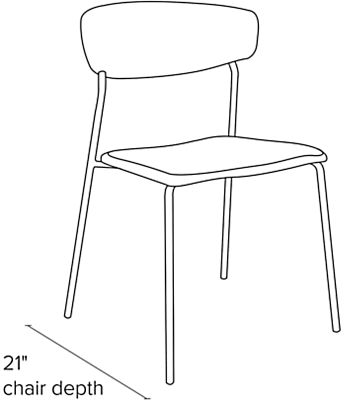 Side view dimension illustration of Wolfgang side chair