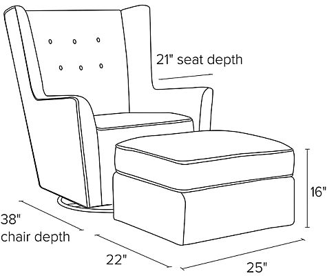 Side view dimension illustration of Wren chair and ottoman