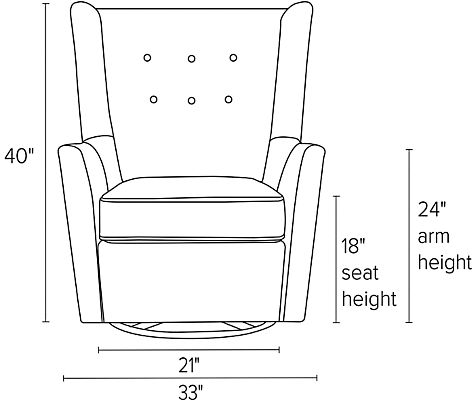 Front view dimension illustration of Wren swivel glider chair