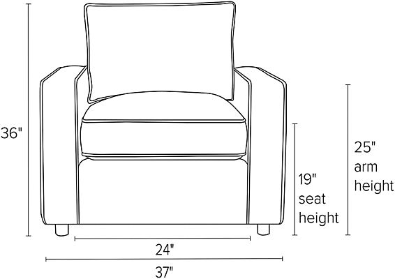 Front view dimension illustration of York chair