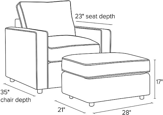 Side view dimension illustration of York chair and ottoman