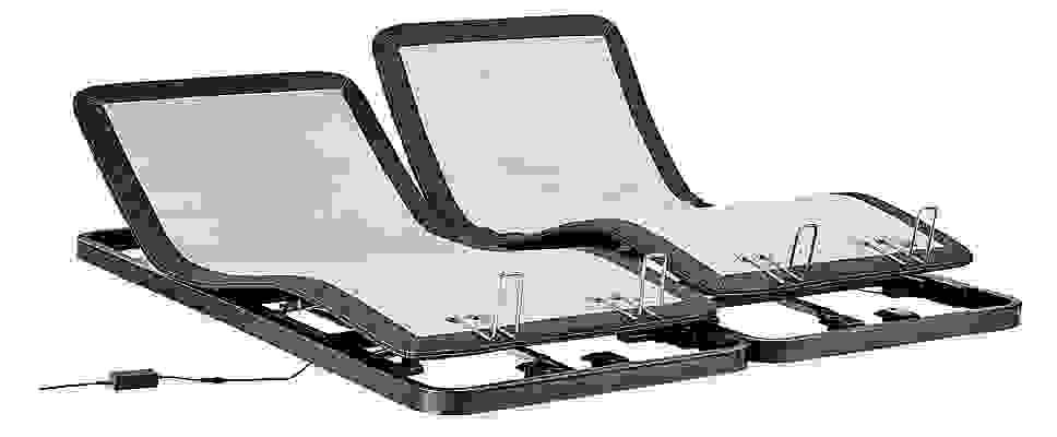 Detail of two split-king adjustable bed bases