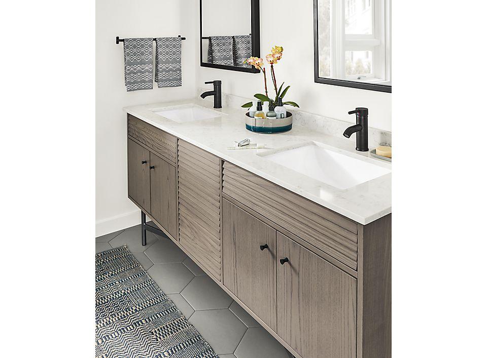 Detail of Adrian bath vanity cabinet closed