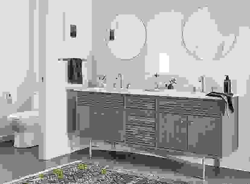 Detail of double sink Adrian bathroom vanity
