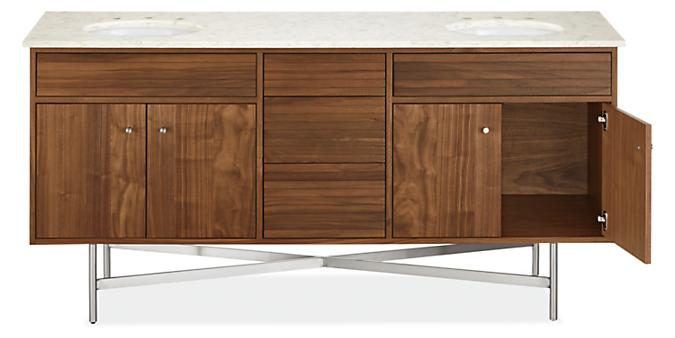 Detail of open Adrian bathroom vanity base cabinet with top