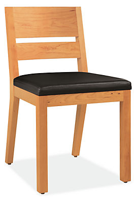 Angle view of Afton side chair in cherry with leather seat
