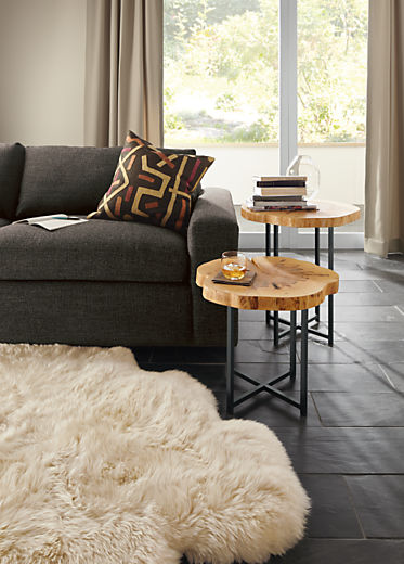 Living room with Allard end table in natural steel