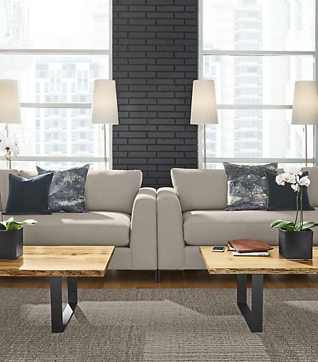 Detail of two Altura grey sofas