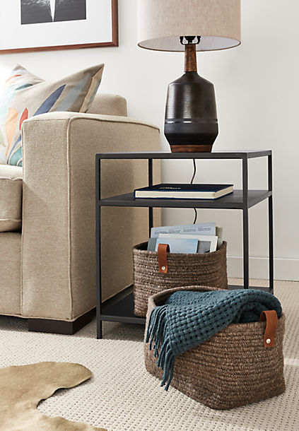 Slim End Table with Meridian Table Lamp
