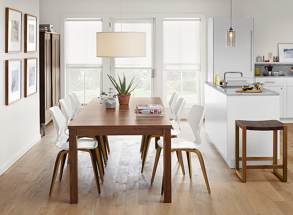 Andover Table in Walnut with Pike Wood Leg Chairs