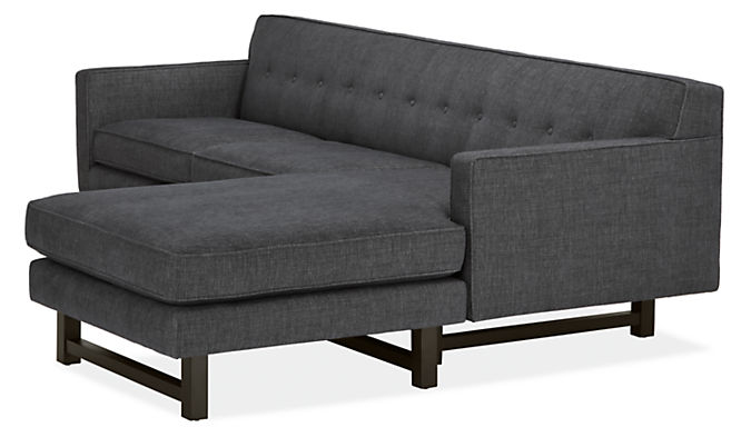 Side detail of Andre sofa with reversible chaise in Total ink fabric