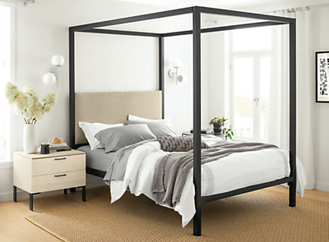 Architecture Natural Steel Bed with Fabric Panel