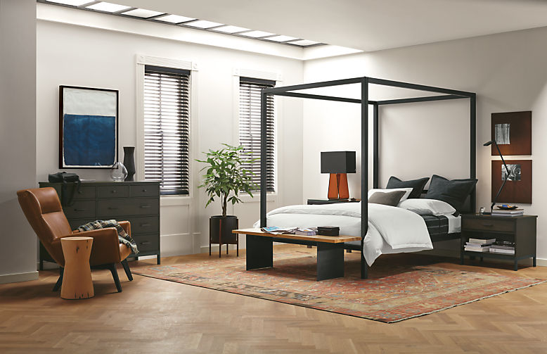 Architecture four-post natural steel bed