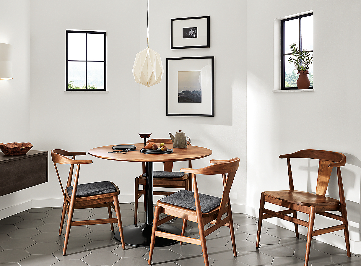 Aria Table with Evan Chairs in Walnut