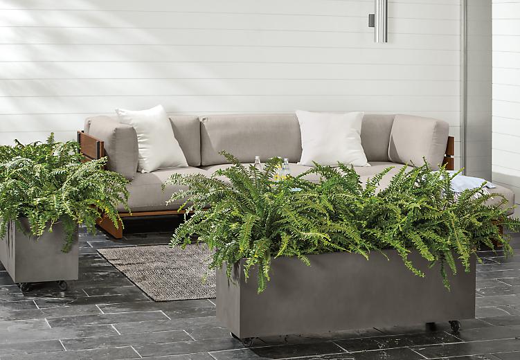 Detail of Bampton oblong charcoal planters