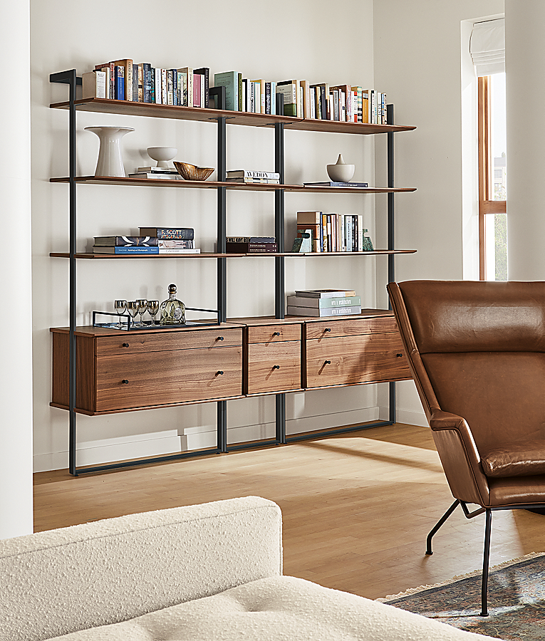 Beam 88w Bookcase Wall Unit with Inserts