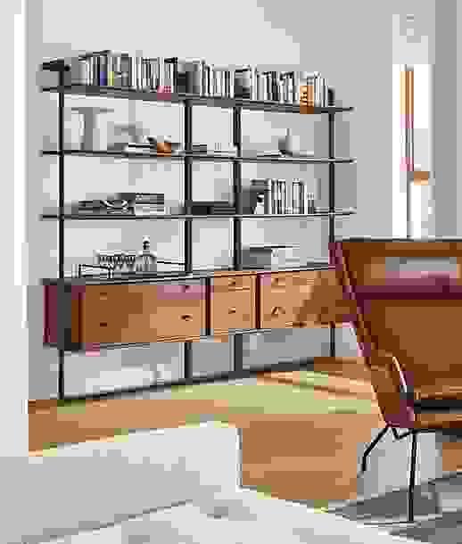 Beam Walnut Bookcase with Drawer Inserts