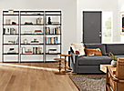 Beam Bookcase Wall Units in Living Room