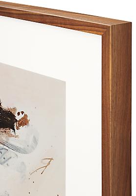 Detail of walnut frame on Gabriel Belgeonne artwork