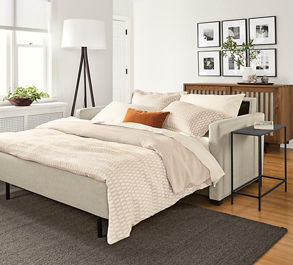 Open view of Berin sleeper sofa in linen