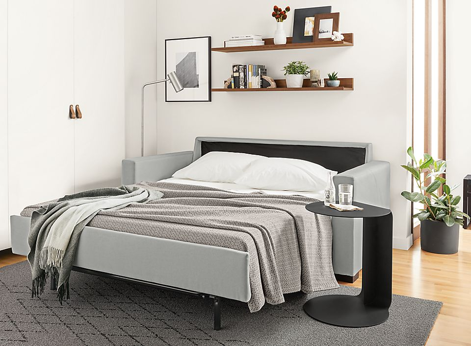 Open view of berin sleeper sofa in small space