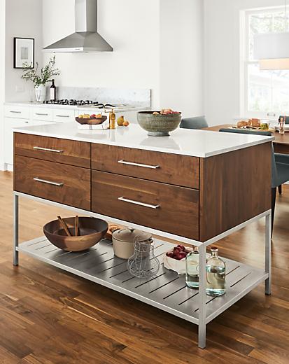 Kitchen with Booker kitchen island in walnut