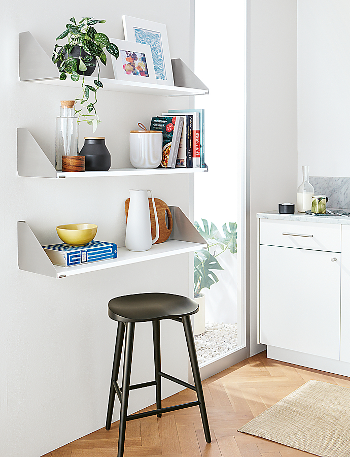 Bradbury Wall Shelves in Stainless Steel and White