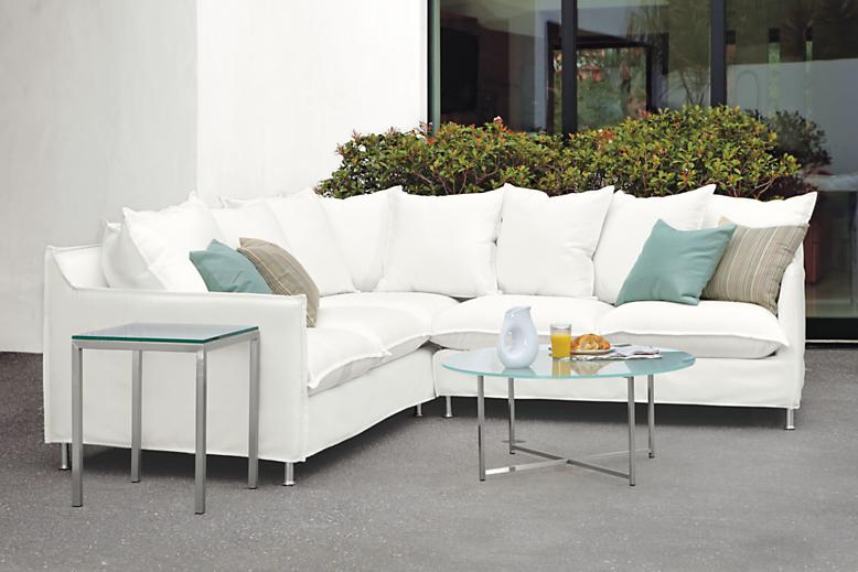 Patio with Brisbane sectional sofa in sunbrella white
