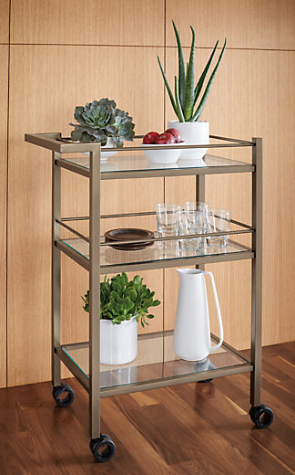 Detail view of Brixton bar cart with plants