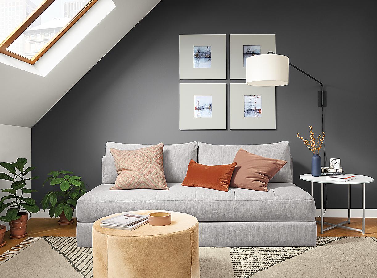 Detail of light grey Bruno sleeper sofa