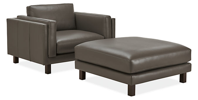 Detail of Cade chair and a half with ottoman in urbino leather