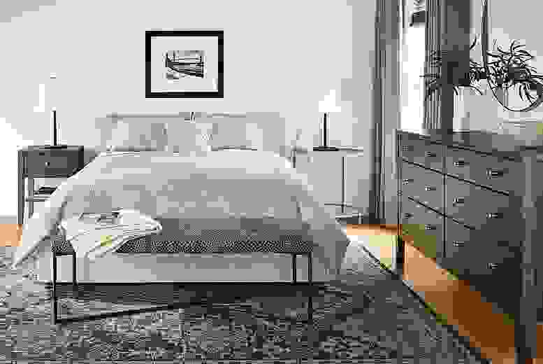 Calvin dresser in earth-toned bedroom
